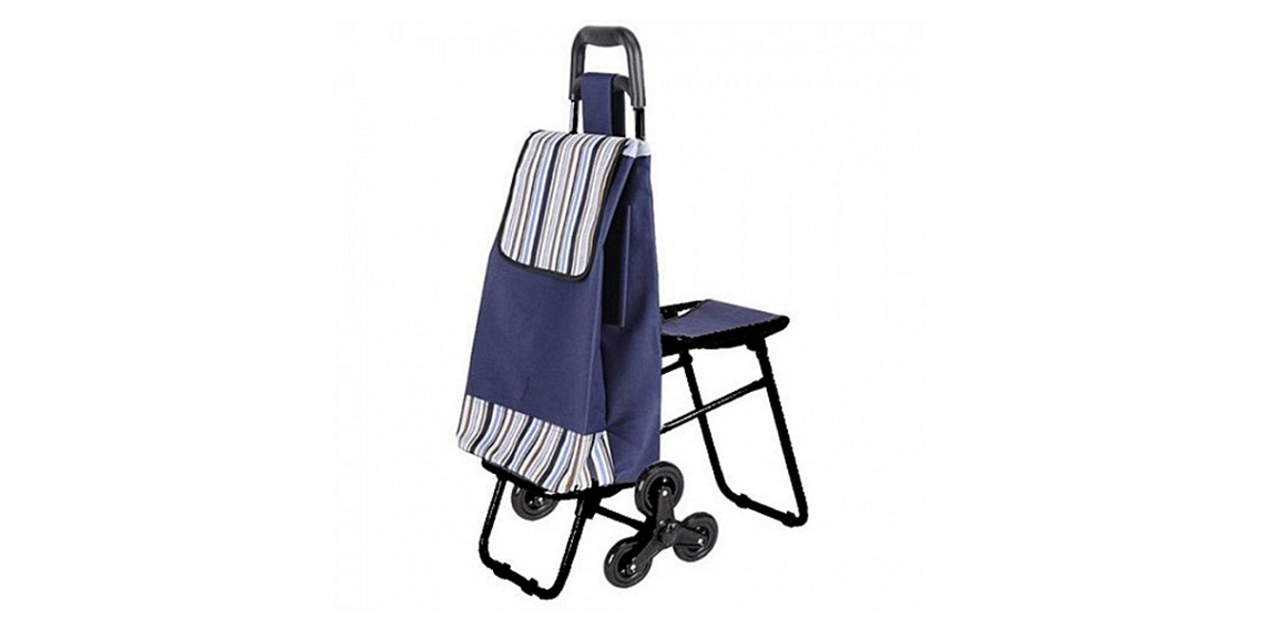 Сумка-тележка хозяйственная C3D на 6 колесах с откидным стулом
