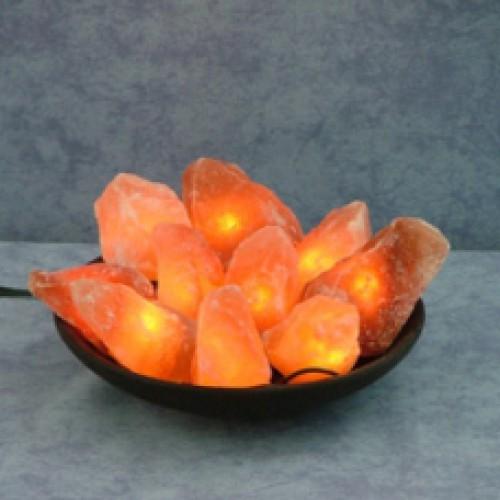Соляная лампа Огненная Чаша из 15 камней на блюде