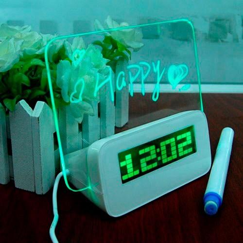 Будильник с доской для записей, зеленый