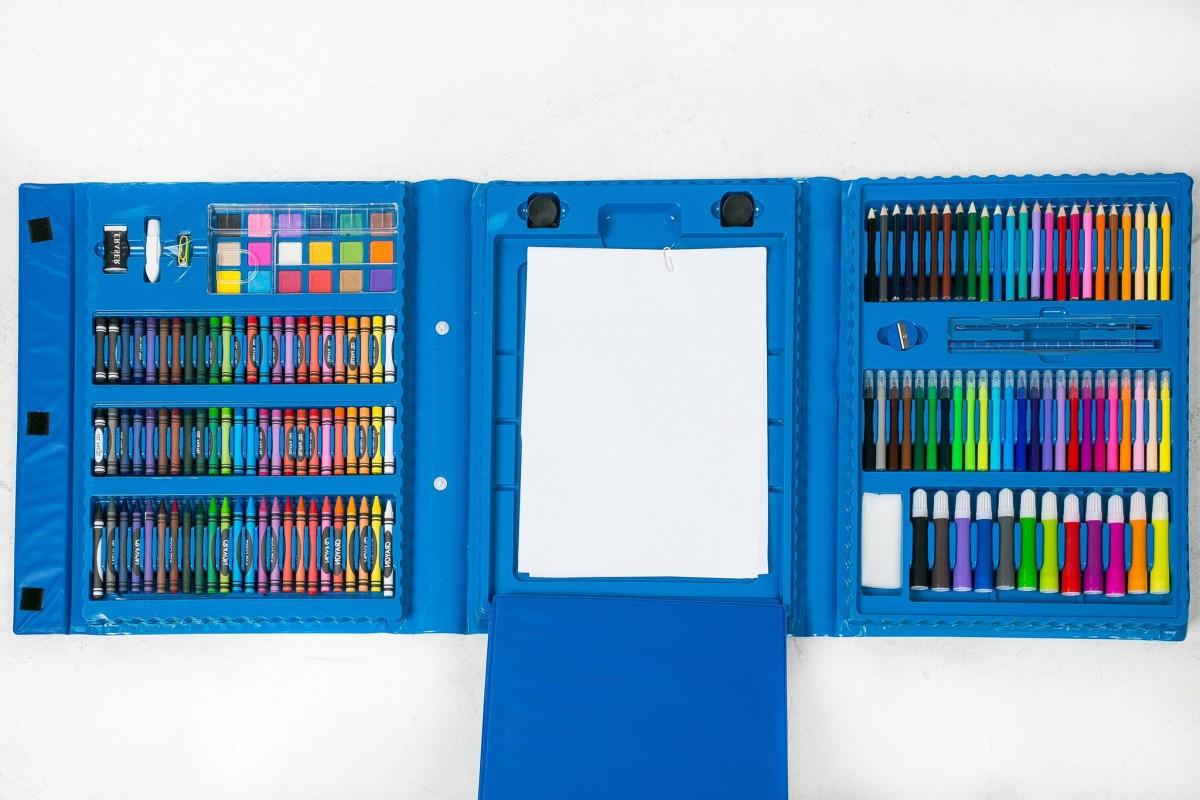 Набор для рисования 208 предметов с мольбертом ( Синий)